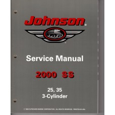 USED 2000 Johnson Service Manual 25 & 35 Three Cylinder - Part # 787068